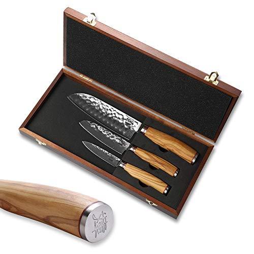 Zayiko 3er Damastmesser-Set - hochwertiges Profi Messer mit Olivenholzgriff