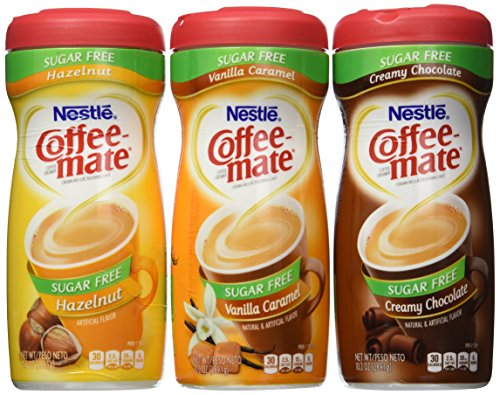 Coffee-mate Sugar-Free 3 Flavor Bundle - Vanilla Caramel, Creamy Chocolate, and Hazelnut (10.2 ounce)