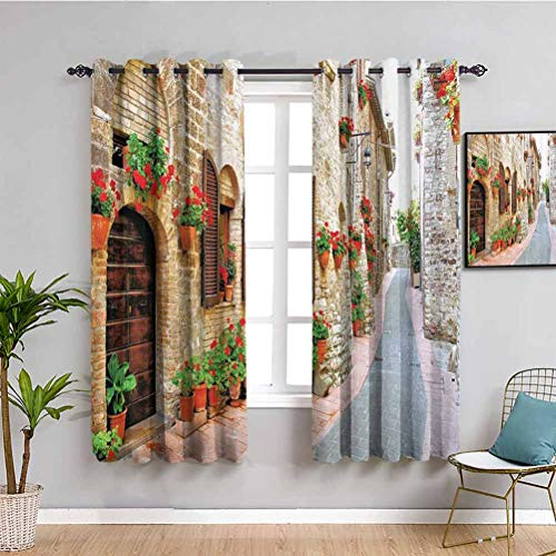 Tuscan Decor Collection Premium Blackout Curtains Porch Decorated with Flowers and Stone Roads in Small Town in Italy Photo Easy to install Peru Red Ecru W52 x L84 Inch