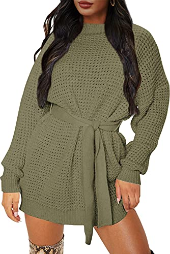 ZESICA Women's Long Sleeve Solid Color Waffle Knitted Tie Wasit Tunic Pullover Sweater Dress,Army Green,Small
