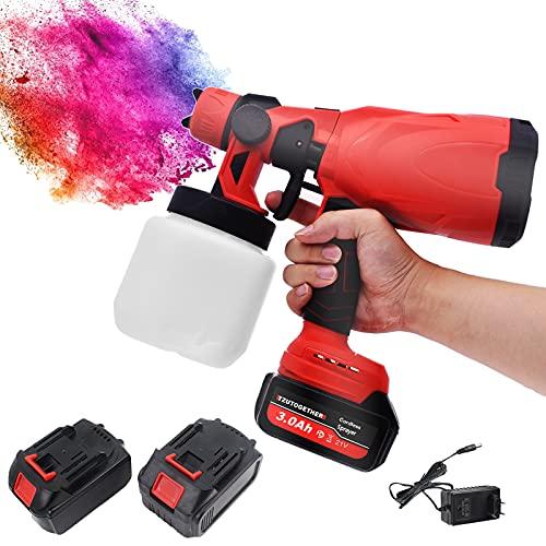 Elektrische Spritzpistole Akku 2 * 3.0Ah - 21V, Akku Farbsprühsystem, Elektrisches Farbspritzpistole 500ml/min, 800ml-Behälter, 60 DIN-s, 1.8mm Düsen, Perfekt für den Außenbereich von TZUTOGETHER