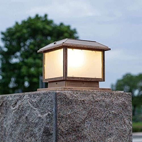 Accesorio de luces de tapa de poste grande con energía solar Luces de pilar solar LED para exteriores Lámpara de columna de decoración de porche de bronce frotado con aceite cuadrado Lámpara de colum