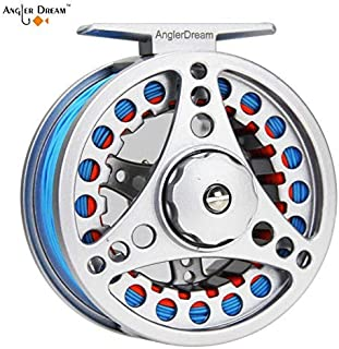 AnglerDream 1 2 3 4 5 6 7 8WT Fly Reel with Line Combo Large Arbor Aluminum Fly Fishing Reels