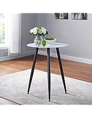 GOLDFAN Mały marmurowy okrągły stół do jadalni 60 cm szklany stolik kawowy retro stół śniadaniowy do salonu kawiarni balkonu ogrodu
