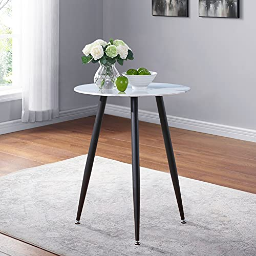 GOLDFAN Small Marble Round Dining Table 60CM Glass Coffee Table Retro Breakfast Table for Lounge Cafe Balcony Garden