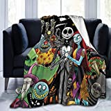 Nightmare Before Christmas Blanket Soft Jack Skellington & Sally Throw Blankets for Couch Bed Living Room Sofa