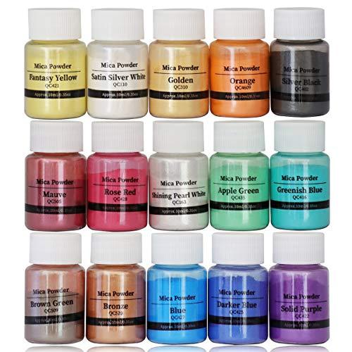 DEWEL Epoxidharz Farbe 15 Farben, 10ml Metallic Mica Powder Epoxy Resin Farbe Pulverfarbe Seifenfarbe Pigmentpulver zur Farbherstellung