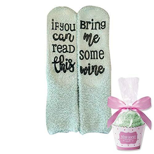 DUOCACL Lustige Socken für Frauen, If You Can Read This Bring Me Some Wine! Socken mit Cupcake Geschenkverpackung für Frau, Frauen