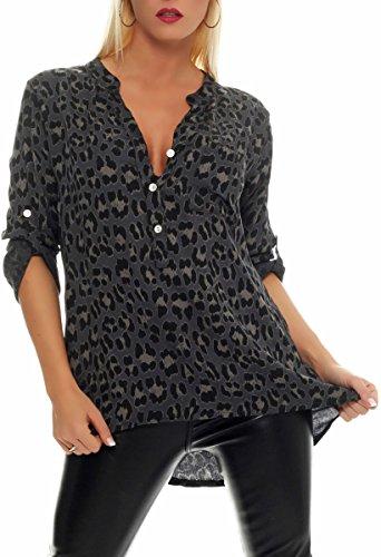 Malito Damen Bluse mit Leo Muster | Tunika mit ¾ Armen | Longsleeve mit Animal Print | Elegant - Oversize - Shirt 6702 (dunkelgrau)