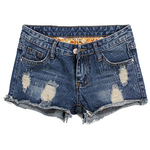 Blostirno Women's Denim Shorts Cuffed Short Jeans Pants High Waisted (Flowery Ripped-10)