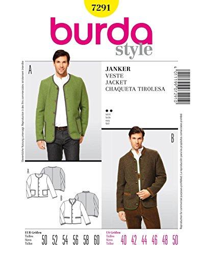 Burda Schnittmuster 7291 Herren Janker,Chaqueta Tirolesa Gr. 50-60