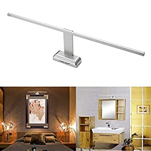 SUBOSI FVTLED 9W 48 LED 2835 SMD Lámpara de Pared para Baño Espejo Aplique Luz Acero Inoxidable(Blanca Frío)