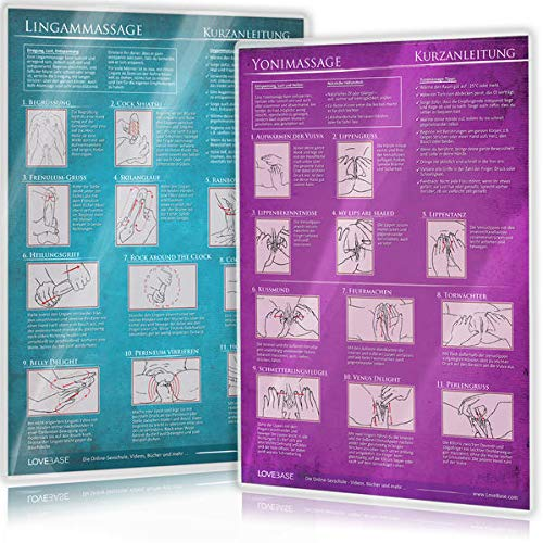 [2er Set] Yoni-Massage und Lingam-Massage: Ideal für die erotische Massage [2 Karten DIN A4 - 2seitig, laminiert]