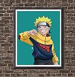 MS Fun Naruto Uzaumaki Poster Digital Illustration Anime Canvas Art Prints,8 x 10 Inches,No Frame