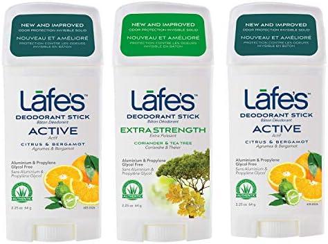Lafe s 2 Active 1 Extra Strength Natural Deodorant Sticks for Women Men Vegan Cruelty Free Gluten product image