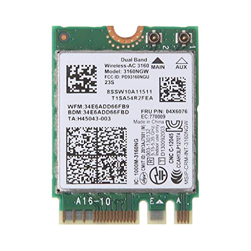 BIlinli Tarjeta de Red para In-Tel Dual Band Wireless-AC 3160 3160NGW 04X6034 04X6076 para Le-Novo Thinkpad Y40 Y50 E10-30 E455 E555 2.4GHz / 5GHz