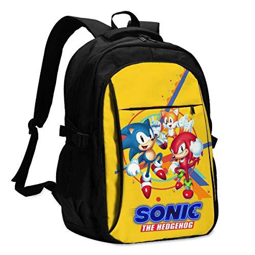 Ewtretr USB School Backpack So-nic-The-Hedgehog 3D Printed Shoulder Bag Bookbag Laptop Bag for Boys Girls