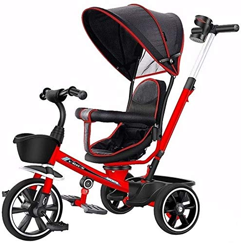 JINHH 4 in 1 Kids Tricycle Bicycle Light Kid Stroller Multifunction Tricycle with Foot Pedal 1/3/2/6 Year Old Kids Car Best Choice for