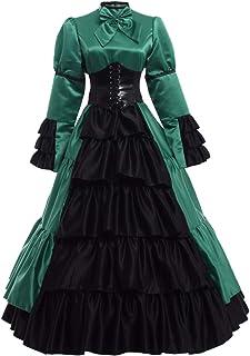 GRACEART Victoriano Gótico Disfraz de Reina Medieval Vestido de Fiesta Vestido de cóctel Vintage Vestido de Fiesta (XL, Ve...