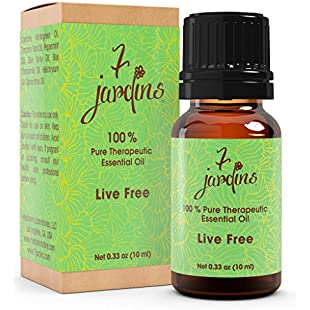 7 Jardins Live Free Pain Relief Synergy Blend Essential Oil Pure & Natural Therapeutic Grade 10 Ml - Anti Inflammatory, Helps With Muscle Aches, Joint Soreness And Discomfort