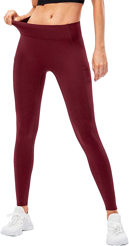 TWFRHC Women's Fleece Lined Leggings Winter High Waist Warm Running Gym Yoga Pants with Pockets