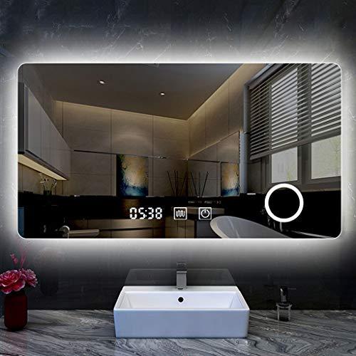 YGH Nuevos Espejos de Baño Inteligentes, Pantalla Táctil Moderna LED Desempañador Ajustable con Alimentación IP65 Impermeable Montado En La Pared Dormitorio Pasillo Vidrio Decorativo