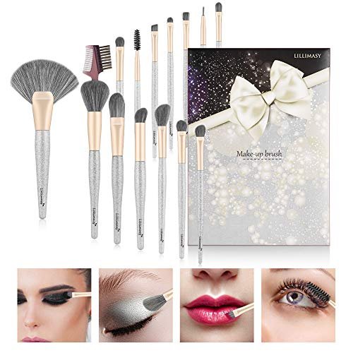 Professionali Pennelli Make up Set di 15 Pezzi Argento fantasia con...