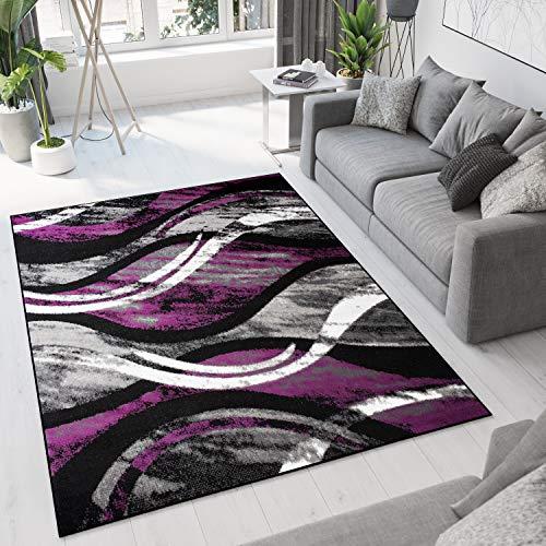 TAPISO Bali Tapis de Salon Chambre Ado Design Moderne Noir Gris Violet Blanc Ondes Moucheté Fin Doux Lisse 200 x 300 cm