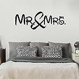 Mr. and Mrs. - Mister - Misses - Schlafzimmer - 54 cm x 153 cm - Wandtattoo - Schwarz