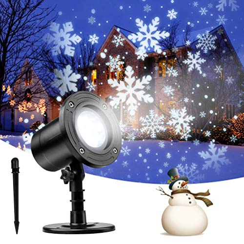 Snowfall LED Light Projector, Christmas Snowflake Rotating Projector Waterproof White Snow for Outdoor Decorations Lighting Halloween Wedding Party Garden Landscape New Year