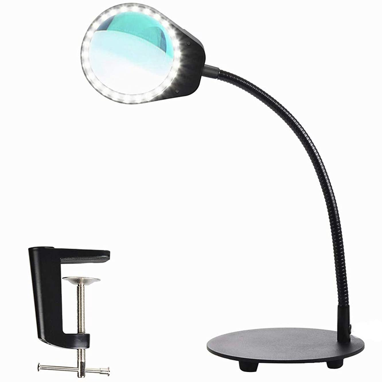 SODIAL Dimmable Magnifying Glass Desk Lamp-Hands Free,Daylight Lighted Magnifier With Stand & Clamp-Adjustable Gooseneck Led Table Light For Reading,Crafts,Workbench,Task,Black
