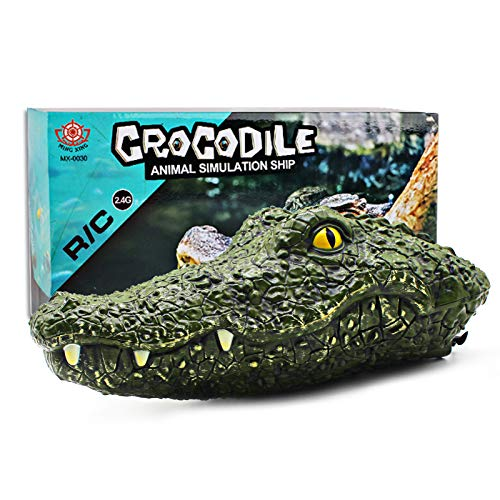 Seckton RC Boat Toys for Kids, 2.4G High-Speed Simulation Remote Control Alligator Head Outside Water Prank Toys for Pools and Lakes, Outdoor Water Toys for Kids Ages 8-12 Years Old