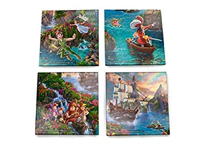 Disney Peter Pan Glass Coaster Set Decor - Thomas Kinkade - Comes with stylish modern wooden holder