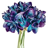 Lily Garden Artificial Flowers Purple Turquoise Orchid Stem Real Touch Flowers Set of 12 Stems