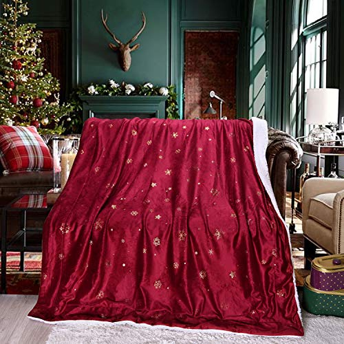 Exclusivo Mezcla 50' x 70' Large Starry Throw Blanket, Reversible Ultra Soft Velvet& Plush Sherpa Blanket (Snowflakes & Stars, Burgundy Red) - Decorative, Lightweight, Soft and Warm