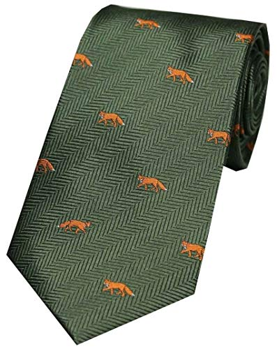 David Van Hagen - Cravatta da uomo in seta, motivo: volpi, colore: verde/arancione