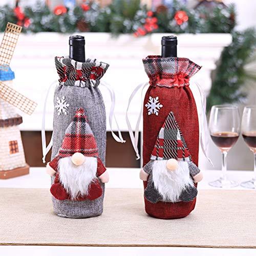 Champagne-geschenkset, kersttafel, decoratie, 2 stuks