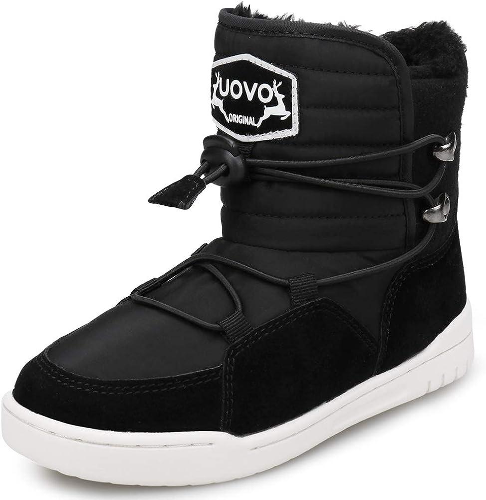UOVO Kids Boys Winter Snow Boots Shoes Waterproof Fleece Fur Lined Hiking Sneaker Boots Outdoor Little Boys Boots