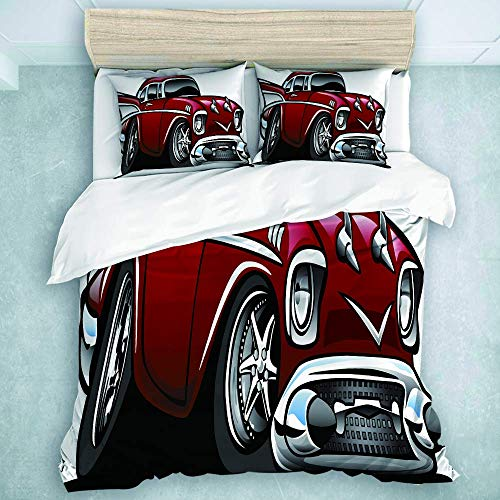 Set copripiumino, classico vintage americano muscle car fantasia vecchia moda famosa icona grafica stampa, super morbida coperta per tutte le stagioni 3 pezzi