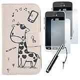 Lankashi 4in1 Set Giraffe PU Flip Leder Tasche Für Doro Liberto 820 Mini Hülle Lederhülle Handyhülle Schutz Handy Hülle Cover Etui Skin mit Ultra-Klar HD Schutzfolie Folie Mini Stift Touch Pen Stylus