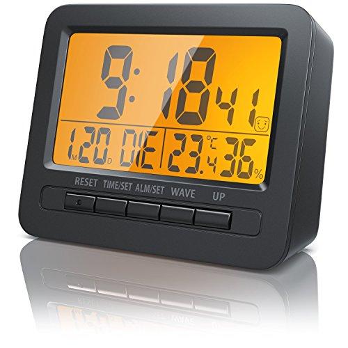 Bearware - Despertadores electrónicos Alarma de Viaje Alarma por Radio controlada por DCF - Pantalla LCD de 2,7 Pulgadas - Retroiluminación por LED Naranja - Señal de Radio DCF77 - Alarma Despertador