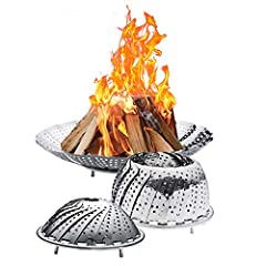 🔥Fire Pit Highlights: most unique foldable Fire Pit, easy to carry, full of futuristic. It's so cool 🔥Fire Pit Material: Stainless Steel Weight: 0.56pounds 🔥Fire Pit Size: When unfolded- diameter:11.8in depth:2in When shrinking-diameter:7.3in depth:2...
