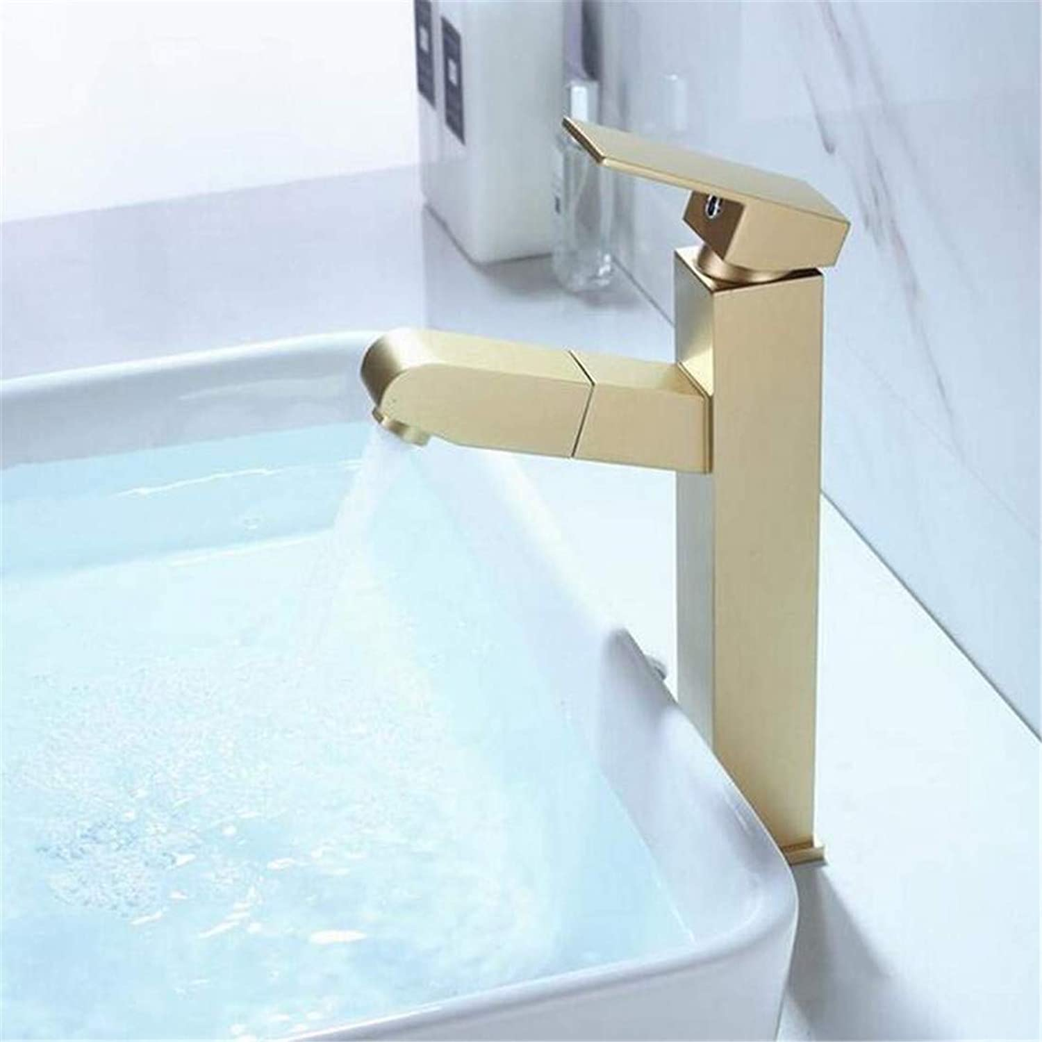 Faucet Luxury Plated Modern Faucet Faucet Washbasin Mixer Brass Bathroom Sink Faucet Pull Out Basin Faucet Cold and Hot Water Mixer Tap