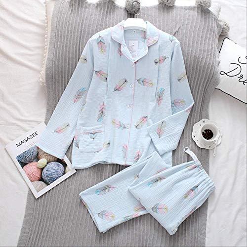 XFLOWR Schlafanzug aus reiner Baumwolle, lange Ärmel, Pyjama für Damen, große Größen, Schlafanzug, blau, M