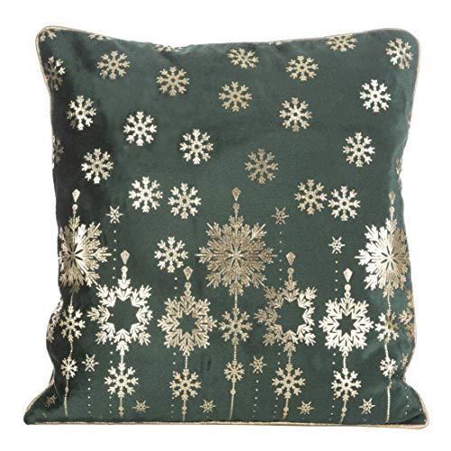 Eurofirany kussenslopen, kussenhoezen, sofakussenslopen, kerstmis, sneeuwvlokken, decoratiekussen, dubbelpak, set van 2 kussenslopen, donkergroen, 40 x 40 cm