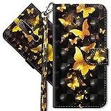 MRSTER Nokia 6.1 Plus Handytasche, Leder Schutzhülle Brieftasche Hülle Flip Hülle 3D Muster Cover mit Kartenfach Magnet Tasche Handyhüllen für Nokia 6.1 Plus 2018. YX 3D - Golden Butterfly