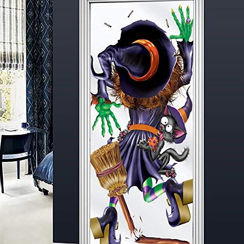 Wnyun DIY PVC Deur Sticker Zelfklevende 3D Behang Decoratie Waterdicht Grappige Zwarte Kat en Heks Dier Landschap Huisdecoratie Decal Kunst 77x200cm