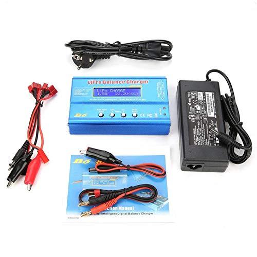 EVTSCAN último cargador RC, cargador de equilibrio Lipo B6 80 W descargador de cargador de equilibrio LCD digital, apto para batería LLiPo NiMH RC(EU plug)