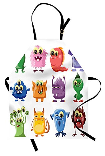 Ambesonne Funny Apron, Animated Bacteria Aliens Theme Germ Whimsical Cartoon Monsters Humor Faces Graphic, Unisex Kitchen Bib with Adjustable Neck for Cooking Gardening, Adult Size, Green Purple