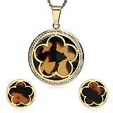 Daesar Collar Pendientes de Mujer Juegos de Joyas de Mujer Collar Pendientes Flor Circonita Collar Oro Mujer